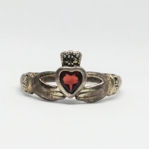 Claddagh Ring Garnet Marcasite Sterling Silver